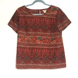 J. Crew Boho Red Short Sleeve Blouse Size Small
